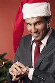 Man waiting for Christmas — Stock Photo