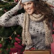 Stock Photo: Beautiful happy girl gifts