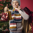 Stock Photo: Young shoppers at Christmas