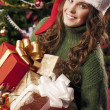 Delighted girl on Christmas — Stockfoto