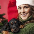 beautiful girl and puppy — Stock Photo