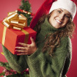Happy girl and her gift — Stockfoto #33281381