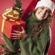 Foto Stock: Happy girl and her gift