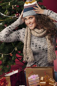Beautiful happy girl gifts — Stockfoto