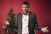 Disgruntled employee for Christmas — Stock Photo