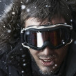 Snowboarder in winter snow at night — Foto Stock