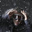 Snowboarder  in winter snow at night — Stock Photo