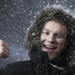 Guy in the winter snow at night — Foto de Stock