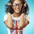 Foto Stock: Beautiful girl in t-shirt. English flag. Close up portrait