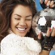 Foto Stock: Girl & disco ball
