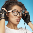Stock Photo: Young woman with headphones