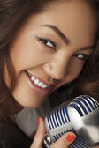 Singing Woman with Retro Microphone. Glamour Singer — Stock Photo