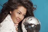 Girl & disco ball. Close Up portrait — Stock Photo