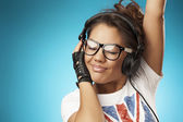 Music teenager girl dancing — Stok fotoğraf