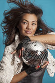 Girl & disco ball. Close Up portrait — Foto Stock