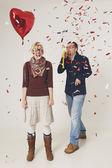 Couple and Confetti — Stock Photo