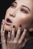 Makeup Face. Asian Woman with Perfect Make up. Beautiful Profess — Stok fotoğraf