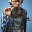 Singer in recording studio — Stock Photo #39027891