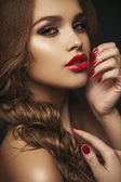 Sexy Beauty Girl with Red Lips and Nails. Provocative Make up. L — Stok fotoğraf