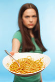 Unhappy girl complains about the food — Stock Photo