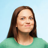 Girl rejoices Big facial portrait — Stock Photo