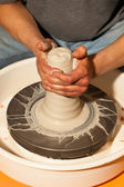 Making a pitcher. Pottery. — Stock Photo