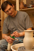 Making a pitcher. Pottery. Finish — Stock Photo