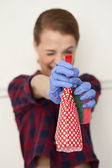 Cleaning woman happy — Stock Photo