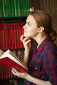 Girl with book — Stockfoto