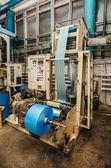 Flexo press for printing label. blue — Stock Photo