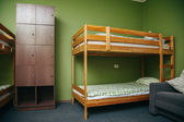 Hostel room with city view. Color room. Bright interior — Stock Photo