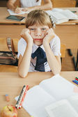 Education and school concept - little student girl — Stock Photo