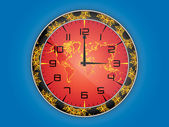 World map clock illustration — Stock Vector