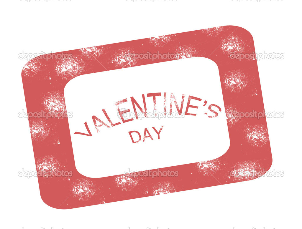 Valentine day stamp on white background, vector illustration  Stock Vector #19831621