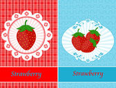 Vintage cards with strawberries — Stock Vector
