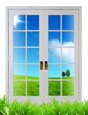 дверь со стеклом — Стоковое фото