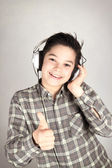 Happy teenager with headphones — Stock Photo