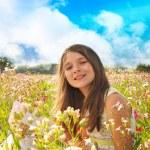Happy little girl in the field — Stock Photo #28928813