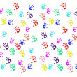 Handprints of children on white background — Stock Photo