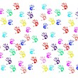 Постер, плакат: Handprints of children on white background