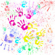 Handprints of children — Stock Photo