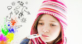 Child is measured fever — Stock Photo