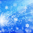 Blue background with snowflakes and star — Stockfoto