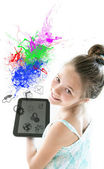 Girl with tablet in hand — Stockfoto