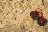 Sweet hearts on the wood — Stock Photo