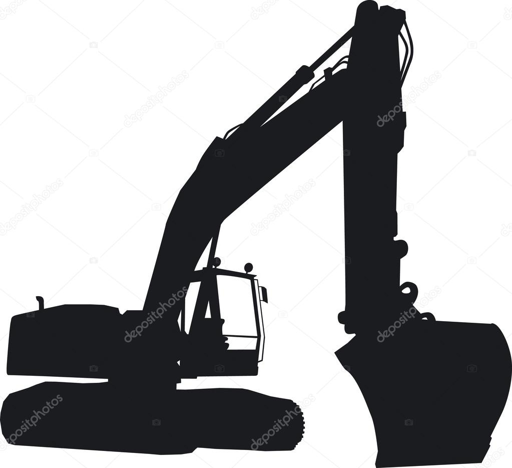 A tracked excavator seen as a silhouette from the front ...
