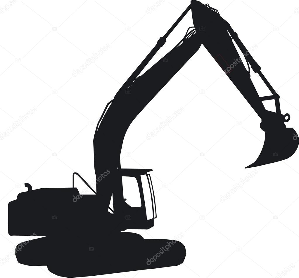 A tracked excavator as silhouette in side view. — Stock ...