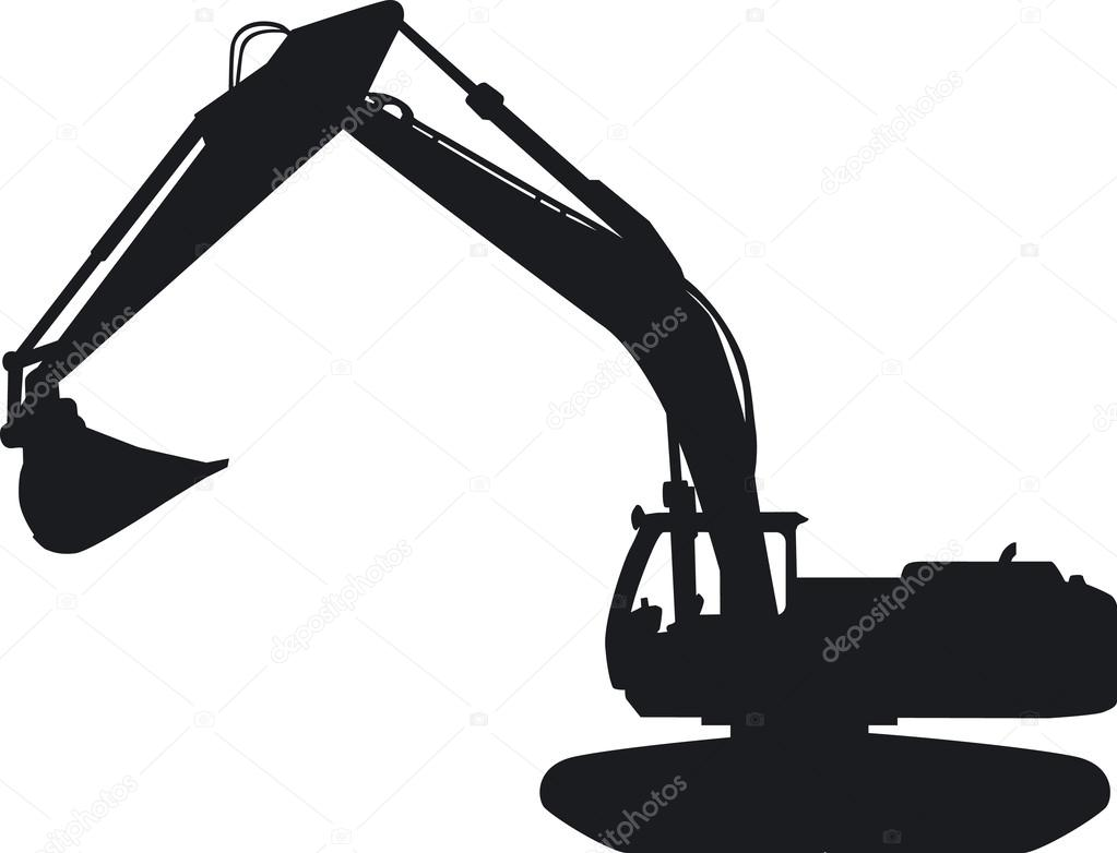 A tracked excavator as a silhouette. — Stock Vector ...