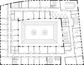 Floor plan of a major building. — Stock Vector