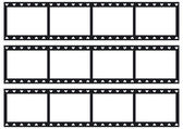 Three film strip with sprocket holes in heart shape. — Stock Vector